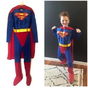 10-12 yr old Superman Deluxe Muscle Chest Child Costume by Rubies Cape Belt DC